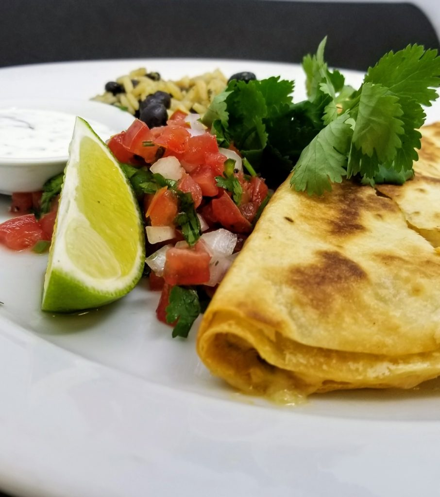 Lunch - Chicken Quesadilla, Pico, Gallo Pinto, Crema