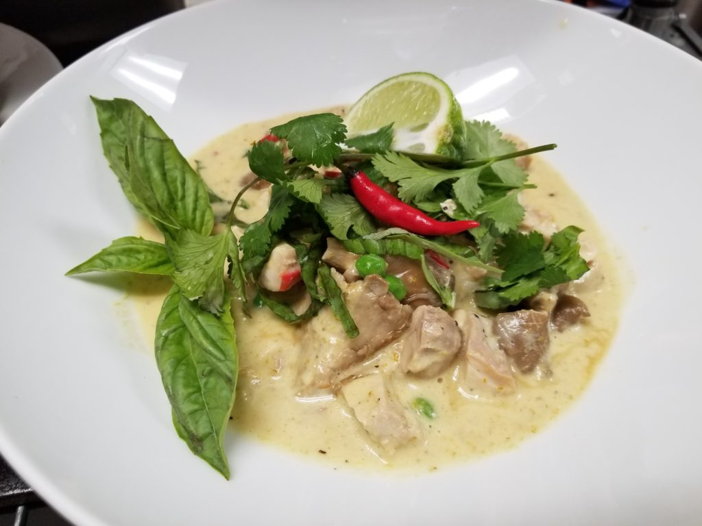 Lunch and Bar Menu - Thai Green Curry, Sous Vide Chicken Breast and Thigh Meat