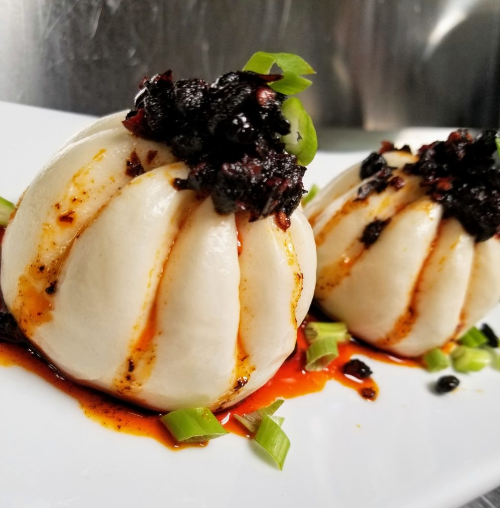 Bar Menu - Char Siu Pork Buns, Black Bean, Garlic, Chili Oil
