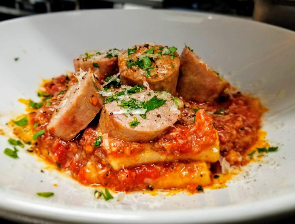 Bar Menu - Paccheri Pasta, Sweet Italian Sausage, Guanciale, San Marzano Tomatoes, Onions, Garlic, Pecorino Romano