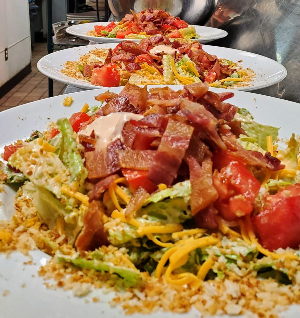 Lunch Menu - Bacon, Lettuce, Cheddar and Tomato Salad, Bacon-Tomato Dressing, Panko Crunch